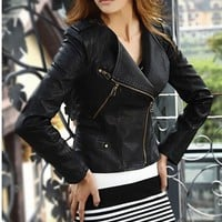 Womens Slim Black Biker Motorcycle PU Soft Leather Zipper Jacket Coat
