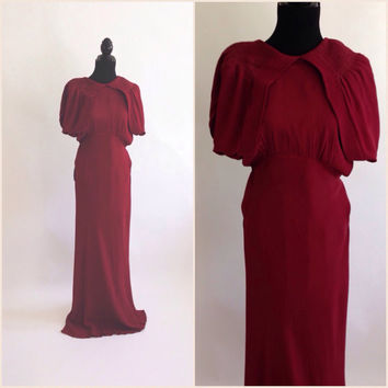 Vintage 30's or 40's Crepe Dress, Long and Sleek, Cape Sleeves, Burgundy, Tall Woman, Bias Cut Dress, Covered Buttons, Clothing, Glamour