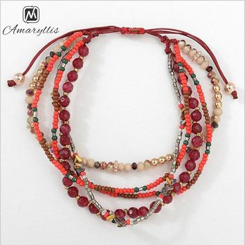 Crystal Beads Bracelet For Women Ethnic Briaided Weaved Adjustable Bangle Bracelet Drop Shippings Jewelry Accessories