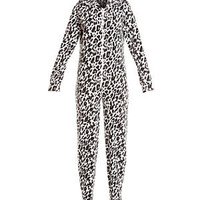 Brown Animal Print Fleece Onesuit