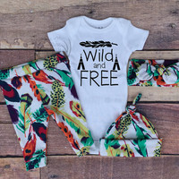 Baby Girls Coming home Outfit, Wild and Free, Teepees, Feather,Green,Purple,Red,Orange,Navy Blue Feathers,leggings,hat,Headband