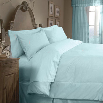 Veratex Home Indoor Bedroom Supreme Sateen 300 Solid Comforter Set King Blue