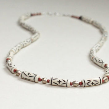 african jewelry / geometric jewelry / bone necklace / white black red tribal necklace / jasper silver / minimalist necklace / mothers day