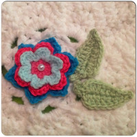 Hand Crochet Flower Appliqué Embellishment Bright Set of 3- Lime Green, Mint Green, Hot Pink and Teal Blue