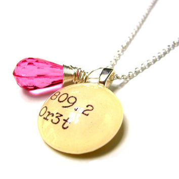 Faceted Hot Pink Girly Acrylic Drop Dewey Decimal Vintage Card Catalog Sterling Silver Necklace