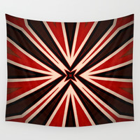Bold Red Black Star pattern Wall Tapestry by Sheila Wenzel
