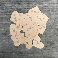 Kraft Heart Confetti, Paper Confetti, Rustic Wedding Decor, Flower Girl Confetti, Personalized Confetti, 100 Pieces