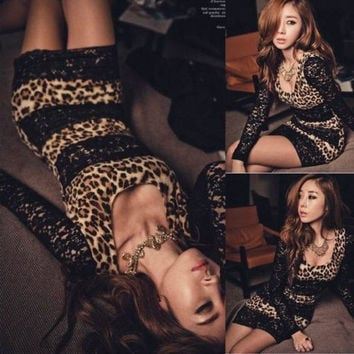 New Long Sleeve Lace Black Party Club Mini Leopard Dress Sexy Wear Slim Women (one size one color) (Color: Leopard) = 1958510916