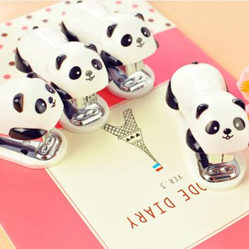 mini cute panda metal staplers cartoon desktop accessories paper clip binding binder hand paper stapler for school supplies