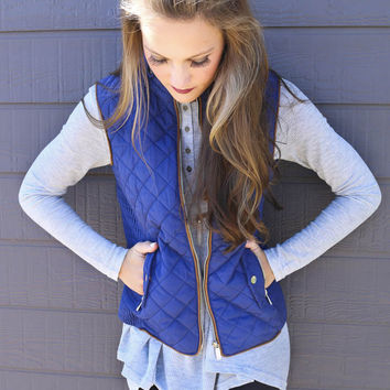 Longwood Gardens Navy Quilted Padded Vest With Pockets