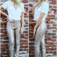 Stars & Champagne Gold Sequin Slim Fit Pants