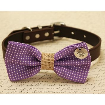 Purple Dog Bow Tie attached to collar, charm, Purple wedding accessory