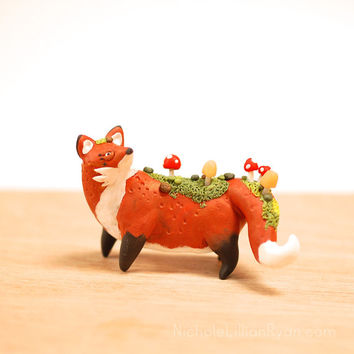 Fox Totem with Mushrooms // Fungus Friend Miniature Polymer Clay Animal Figurine Sculpture