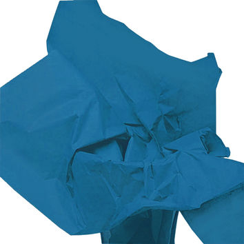 Peacock Blue Tissue Paper, X-Large with Damask Gift Tags