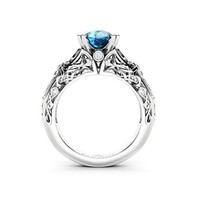 Vintage Blue Diamond Engagement Ring- White Gold Ring- Art Wedding Ring- 2 CT Diamond