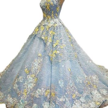 Colorful Wedding Dress Lace Flower Embroidery Sleeveless Sweep Train Blue Gowns Zipper Bride Dress