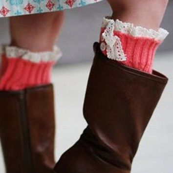 Girls Cozy Coral Legwarmers