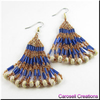 Layered Serenade Beadwork Dangle Seed Bead Earrings in Bronze and Blue