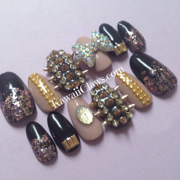 Glam Nude Black Glitter Sparkly Gold Spiked & Studded 3D Nails 3D False/Fake Nail