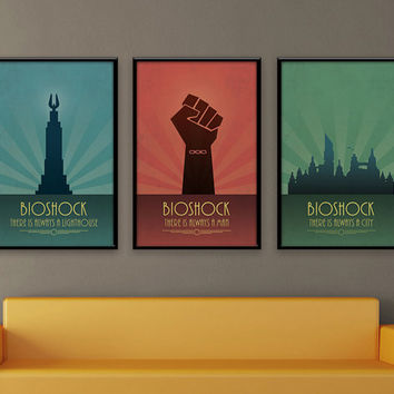 Bioshock Inspired Vintage Poster Set - There Is Always A Lighthouse, Always A Man & Always A City