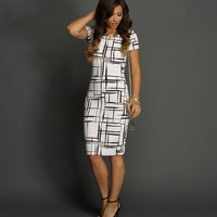 White Window Pane Dress