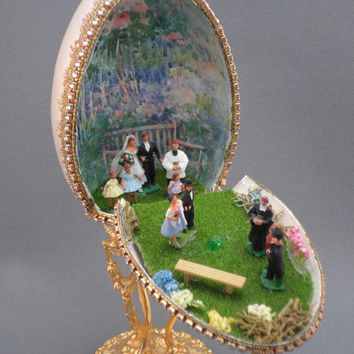 Delightful Wedding Party Scene from Goose Egg - A Faberge Style Cake Topper, Decorated Goose Egg, Egg Ornament, Egg Art