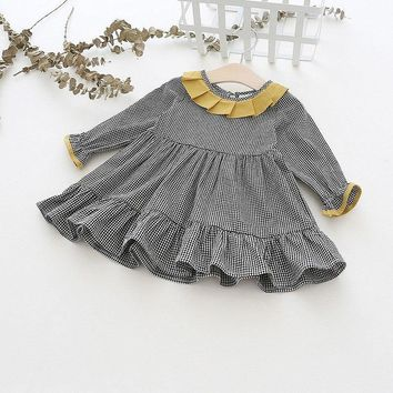 Autumn girls dress long sleeve cotton costume enfant clothes plaid unicorn party princess dress kinderkleding meisjes children