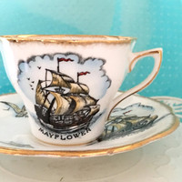 Vintage Rosina Tea Cup And Saucer, Mayflower 1940's Tea Cup, English Teacup Set, Nautical, Seagull