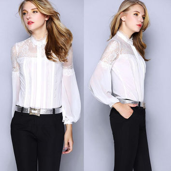 Sexy Hot!High Quality Blouses Women Sheer Lace Patchwork Long Sleeve Vintage Shirt Black White Color Office Formal Blouse Shirts