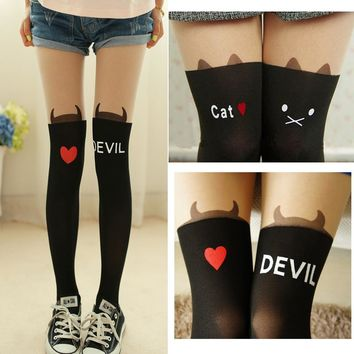 Fashion lonely New Women&girl  Silk Stockings Pantyhose Ribbed Over Cute Cat Rabbit Sexy Slim Tights  False High Stocking