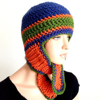 Crochet Earflap Sports Beanie.
