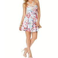 SALE-MintRed Strapless Floral Sundress