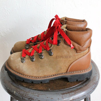 Awesome  Leather Hiking Boots Red Laces Hook And Eye Retro Classic On Etsy