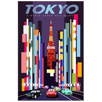 Cars 2 Tokyo poster Metal Sign Wall Art 8in x 12in
