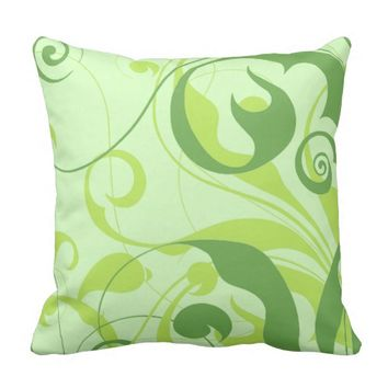 Monochromatic Green Vine Patterned Accent Pillow