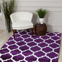 2903 Purple Moroccan Lattice Area Rugs