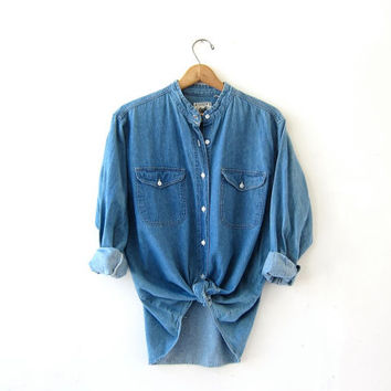 vintage jean shirt. denim pocket shirt. collarless jean shirt. boyfriend tomboy shirt.