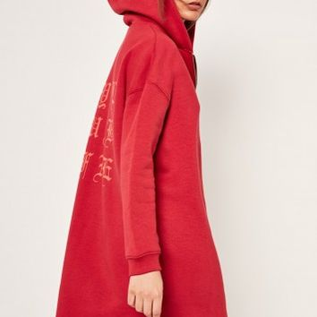 Missguided - Red Slogan Zip Front Oversized Hoody