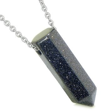 Amulet Lucky Crystal Point Wand Blue Goldstone Bullet Shape Pendant 22 Inch Necklace