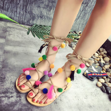 Bohemia  Colorful Ball Women Sandals  Up Beach Gladiator Sandal Summer Holiday