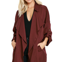 Lucky Break Wine Red Oversized Jacket