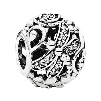 Women's PANDORA 'Dragonfly Meadow' Charm - Silver/ Clear