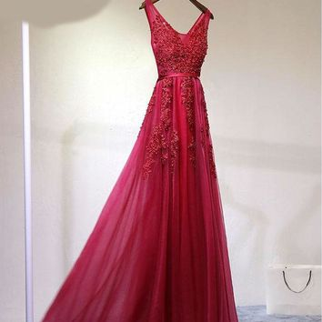 Lace Embroidery evening dress long slim fashion V neck Sleeveless bride evening formal dress women