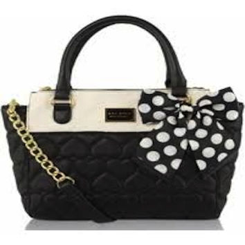 Betsey Johnson Be Mine Triple Compartment Satchel Bag Bone/Black