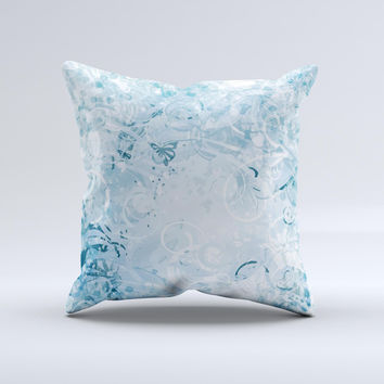 Bright Light Blue Swirls with Butterflies ink-Fuzed Decorative Throw Pillow