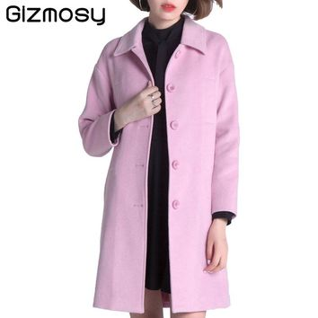 2017 High Quality Single Breasted Wool Coat Women Slim Winter Coat Solid Turn-down Collar Woolen Long Outwear Pink Jacket BN1357