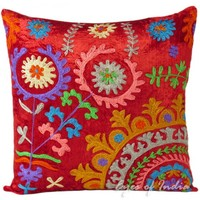 """16"""" Red Suzani Velvet Throw Pillow Cushion Cover Colorful Indian Decor"""