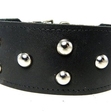 Adjustable leather martingale collar, Studded dog collar, Black leather martingale collar for large dogs