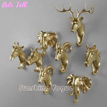 3D Animal wall sticker 5 inch size handle decoration for home & garden elk/horse/rhinoceros/goat/elephant head resin craft
