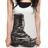 Boots Leather Rocker Cowboy T Shirt Screen Printed Women White T-Shirt Vest Tank Top Singlet Sleeveless Size S M